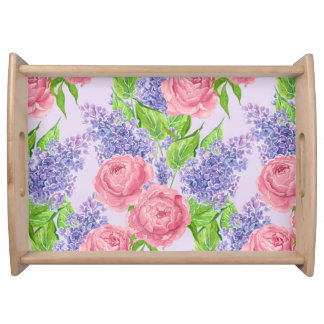 Watercolor peonies and lilacs serving tray