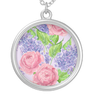 Watercolor peonies and lilacs silver plated necklace
