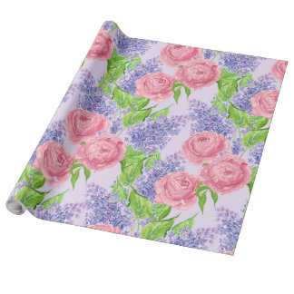 Watercolor peonies and lilacs wrapping paper