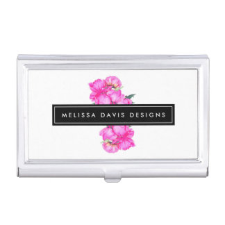 Watercolor Peonies Bunch Business Card Holder