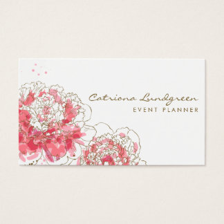 Watercolor Peonies Chic Business Card
