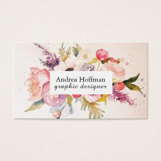 Watercolor Peonies Custom Business Card
