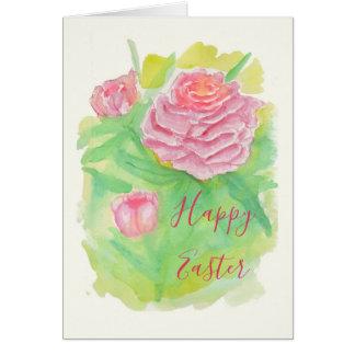 Watercolor Peonies Easter Card