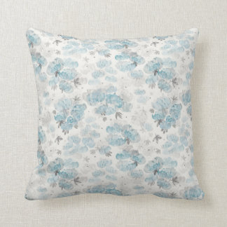 Watercolor Peonies Floral Pattern Throw Pillow