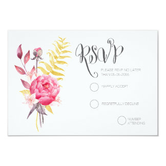"""Watercolor Peonies Gold Wedding RSVP Cards 3.5"""" X 5"""" Invitation Card"""