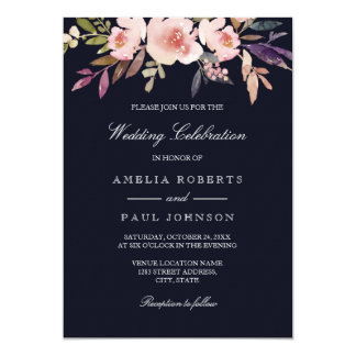 Watercolor Peonies Navy Pink Wedding Invitation
