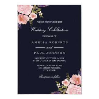Watercolor Peonies Pink Navy Wedding Invitation