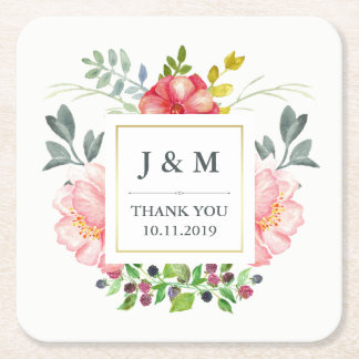 Watercolor Peonies Wedding Square Paper Coaster