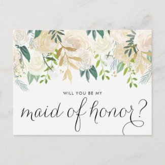Watercolor Peonies Will You Be My Maid of Honour Invitation Postcard