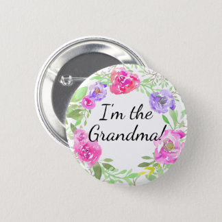 Watercolor Peony Baby Shower I am Grandma Name Tag 2 Inch Round Button