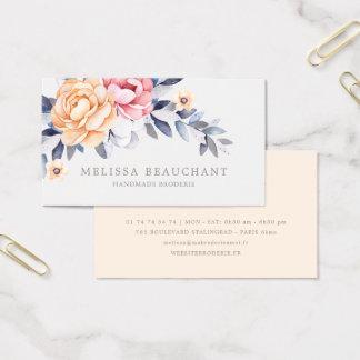 Watercolor Peony Floral Custom Elegant Template Business Card
