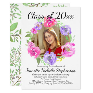 Watercolor Peony Floral Girls Photo Graduation Card