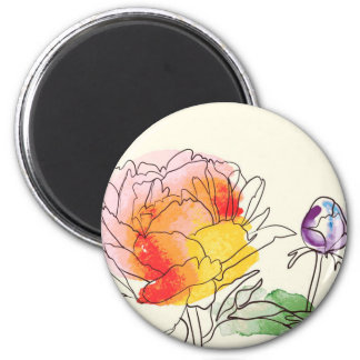 Watercolor Peony Flowers 2 Inch Round Magnet