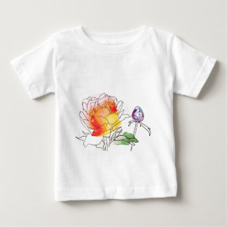 Watercolor Peony Flowers Baby T-Shirt