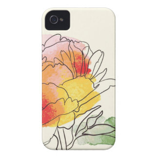 Watercolor Peony Flowers iPhone 4 Cases