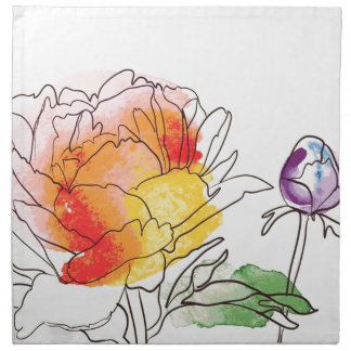 Watercolor Peony Flowers Napkin