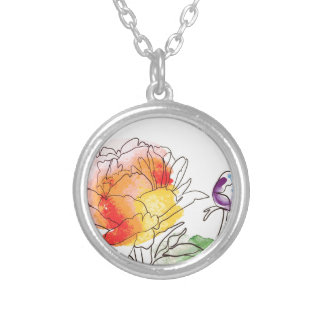 Watercolor Peony Flowers Silver Plated Necklace