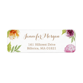 Watercolor Peony Flowers Simply Art Deco Return Address Label