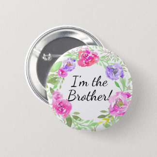 Watercolor Peony New Baby Shower Brother Name Tag 2 Inch Round Button