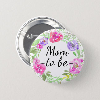 Watercolor Peony Pink Floral Mom to Be Baby Shower 2 Inch Round Button