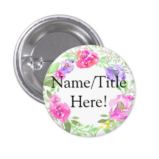 Watercolor Peony Pink Green Floral Wedding 1 Inch Round Button