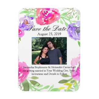Watercolor Peony Pink Green Floral Wedding Magnet