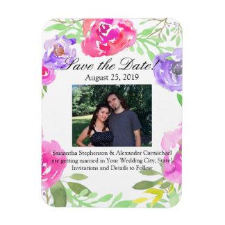 Watercolor Peony Pink Green Floral Wedding Rectangular Photo Magnet