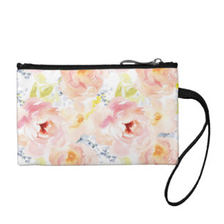 Watercolor Peony Pink Watercolor Flower Coin Purse