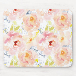 Watercolor Peony Pink Watercolor Flower Mouse Pad