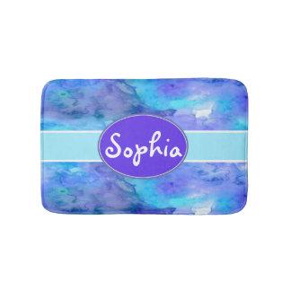 Watercolor Personalized Monogram Name Teal Purple Bath Mat