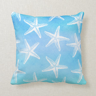 Watercolor Pillow - Starfish Blues