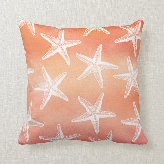 Watercolor Pillow - Starfish Sunset