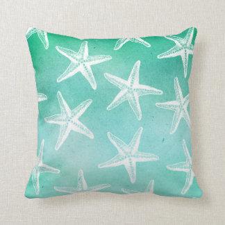 Watercolor Pillow - Starfish Teal
