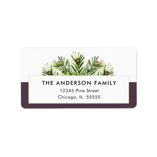 Watercolor Pine Branches Christmas Return Address