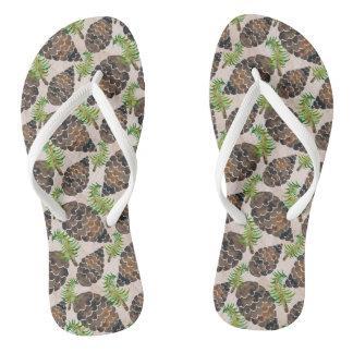 Watercolor Pine Cone Pattern Flip Flops