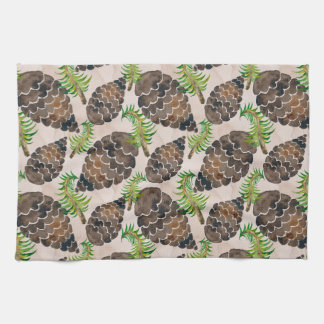 Watercolor Pine Cone Pattern Kitchen Towel