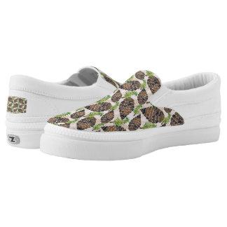 Watercolor Pine Cone Pattern Slip-On Sneakers