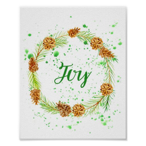Watercolor Pine Cone wreath Joy Poster