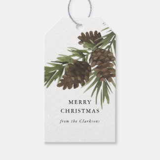 Watercolor Pine Sprigs, Christmas Gift Tag