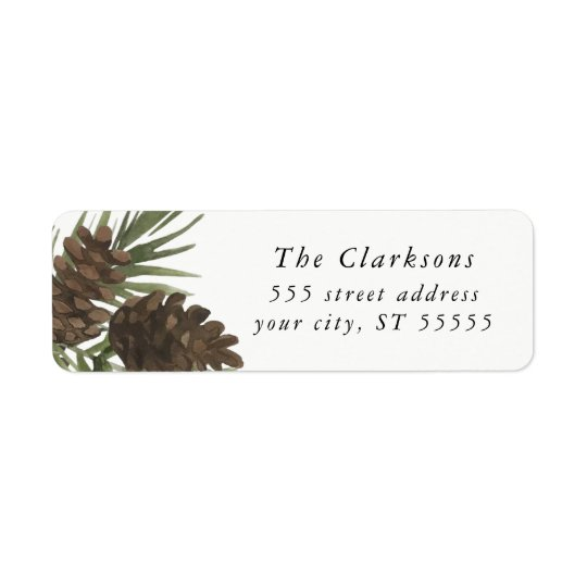 Watercolor Pine Sprigs, Return address labels