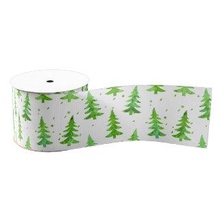 Watercolor Pine Trees Grosgrain Ribbon