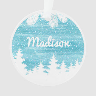 Watercolor Pine Trees in the Snow Ornament