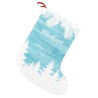 Watercolor Pine Trees in the Snow Small Christmas Stocking
