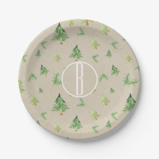 Watercolor Pine Trees Kraft Rustic Winter Wedding Paper Plate