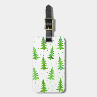 Watercolor Pine Trees Luggage Tag