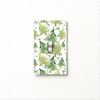 Watercolor Pine Trees Modern Rustic Country Chic Light Switch Cover