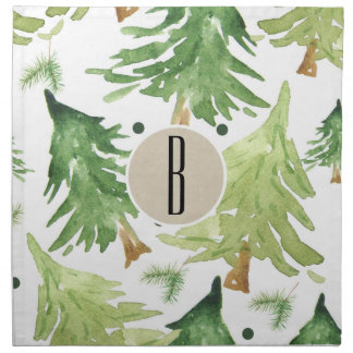 Watercolor Pine Trees Modern Rustic Monogram Kraft Napkin