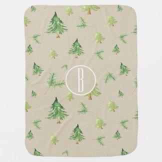 Watercolor Pine Trees Rustic Kraft Monogram Baby Blanket