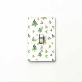 Watercolor Pine Trees Winter Minimal Rustic Light Switch Cover