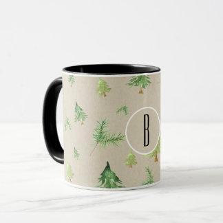Watercolor Pine Trees Winter Minimal Rustic Mug